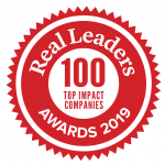 Real Leaders 100 Top Impact Companies Seal